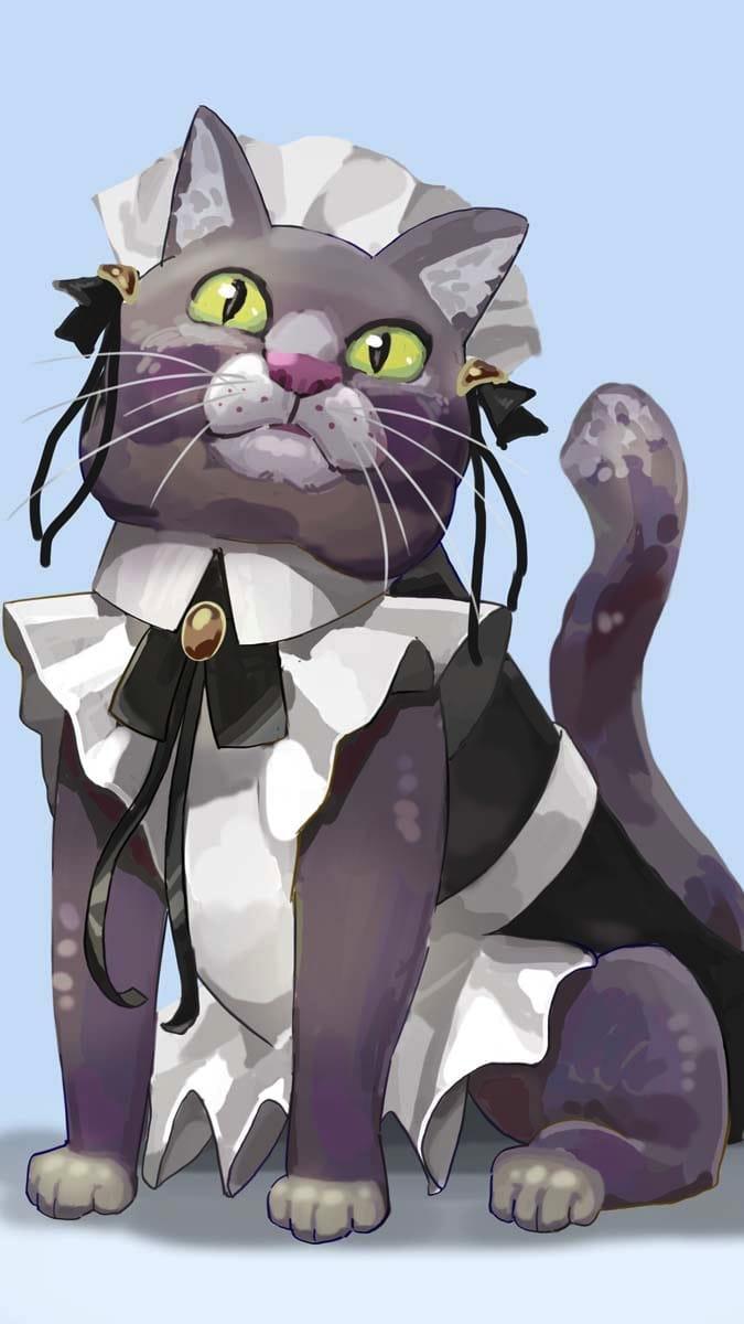 ご奉仕するにゃ! Illust of サレコウベ August2021_Animal original animal メイド服 cat