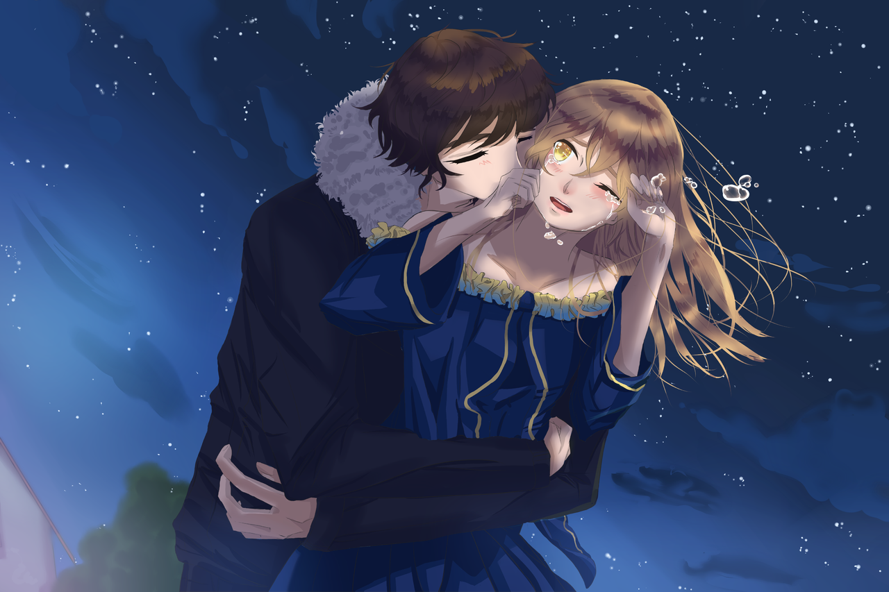 won't let you go Illust of seira.omoide Feb2020:VDAY brownhair night catchyou wontletgo Valentine couple dontrun