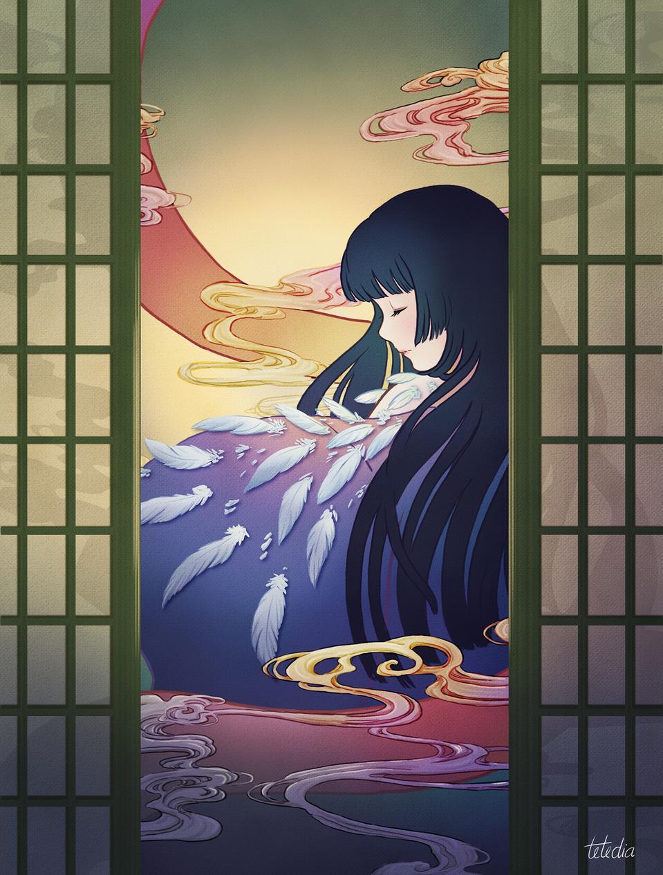 Feathers Illust of TTNHana January2021_Contest:OC Kyoto_Award2020_illustration woman kimono Asian smoke anime birds feathers animegirl