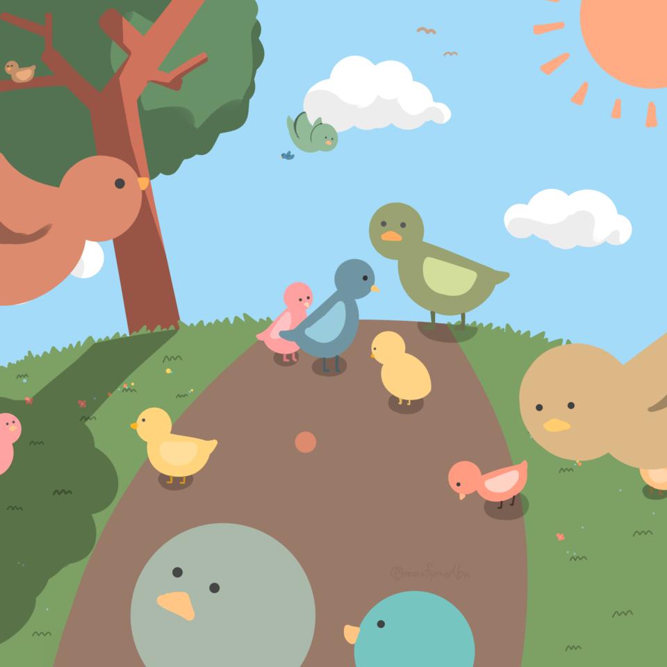 レッツワンドロ 鳥 Illust of Marfy レッツワンドロ birds kawaii