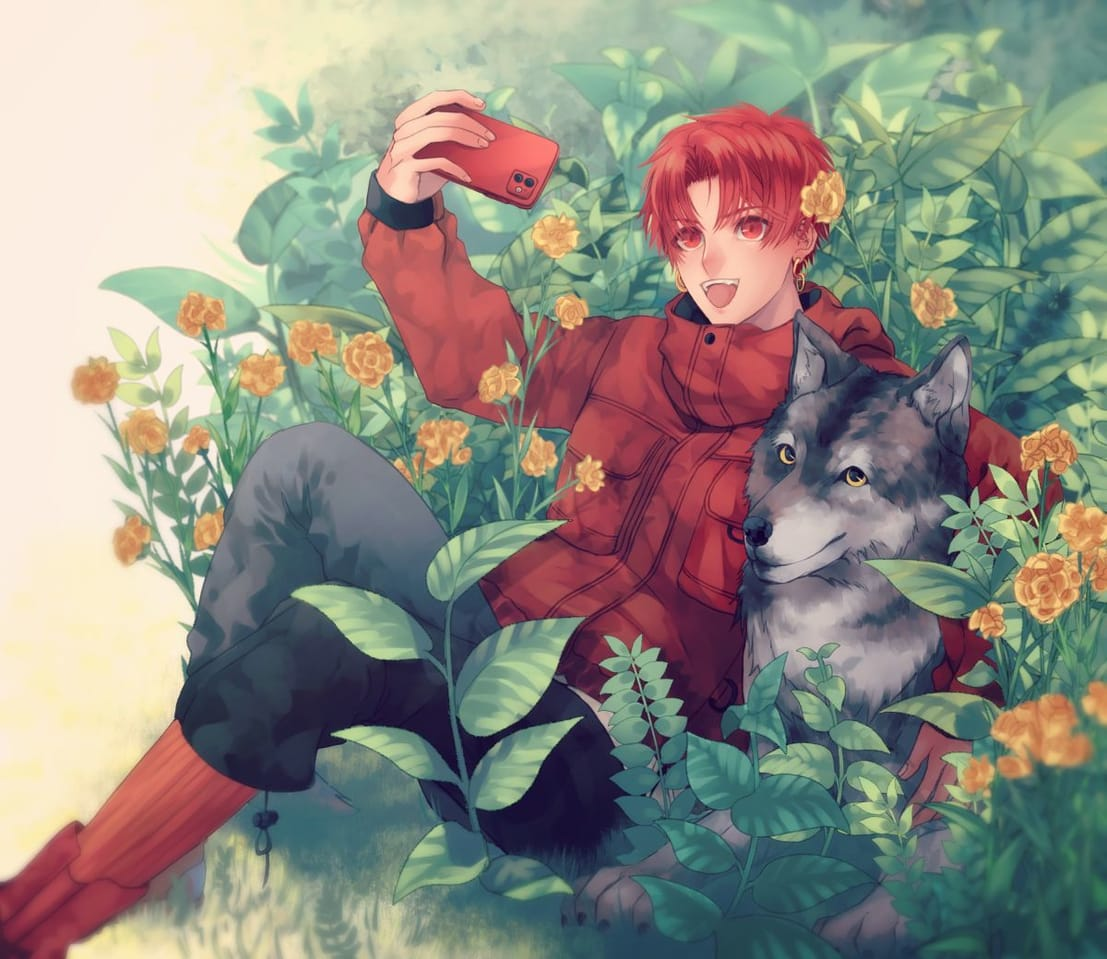 狼と自撮り Illust of すとっぱ original 赤ずきん boy wolf