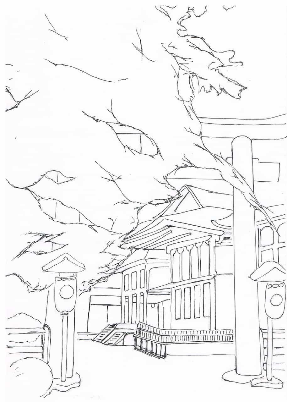 Winter Shrine Illust of Ng Lei Yee kyoto-illust2019 Kyoto Calm Shrine winter