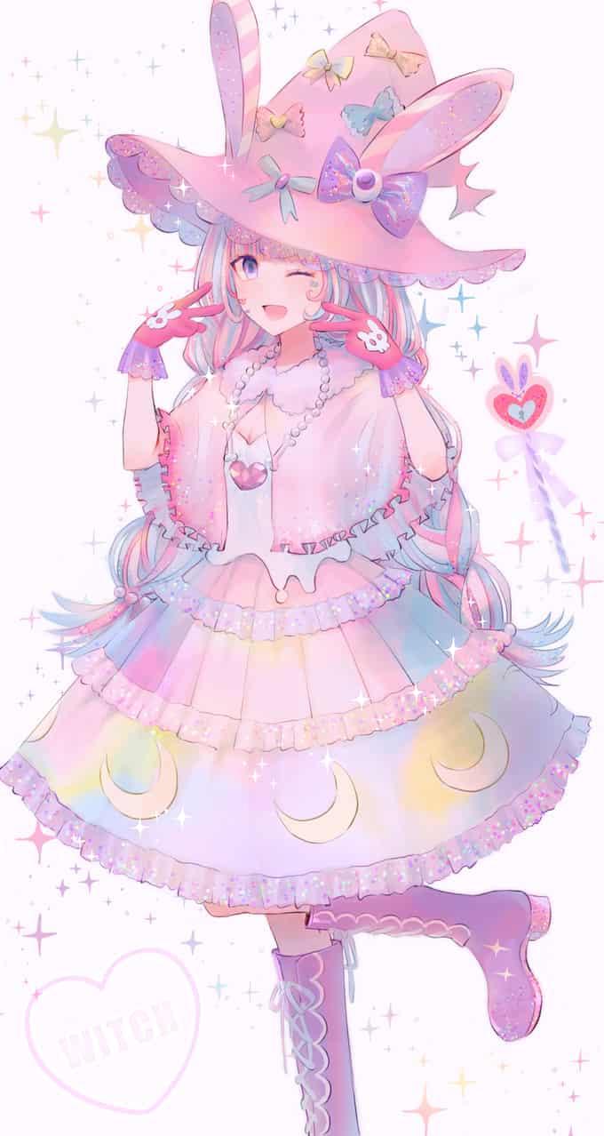 ゆめかわ♡魔女っ子ちゃん Illust of もふ ARTstreet_Ranking April.2020Contest:Color original witch ゆめかわいい oc girl pastel