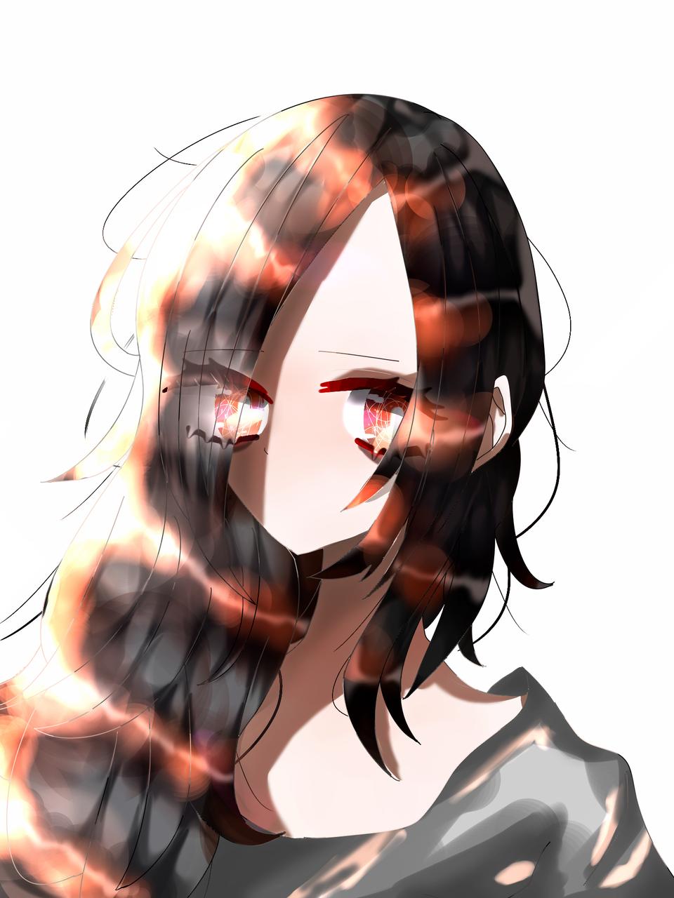 朝日 Illust of 如月来蕾 medibangpaint 黒髪 girl 朝日 oc オレンジ 光 天パ black