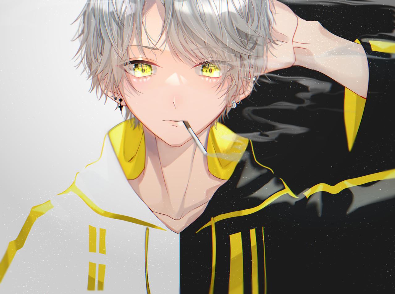 ◻🟨◼ Illust of 都良 tobacco illustration black oc boy original piercing 銀髪 yellow