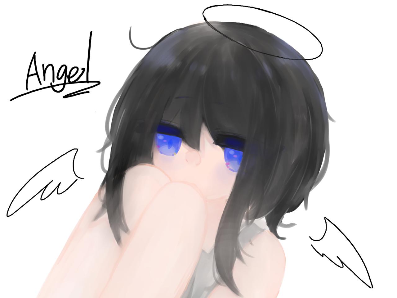 まいえんじぇう Illust of めだまやき#中2病 厚塗り練習 angel kawaii digital エンジェル hair oc