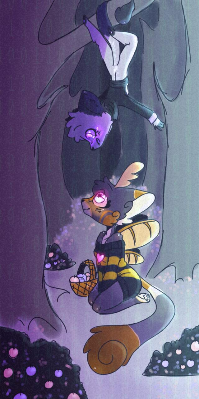 For Kaze! Illust of BushBabyOrigins medibangpaint yellow gift cute fursona grey oc HoneyBee persona purple furry