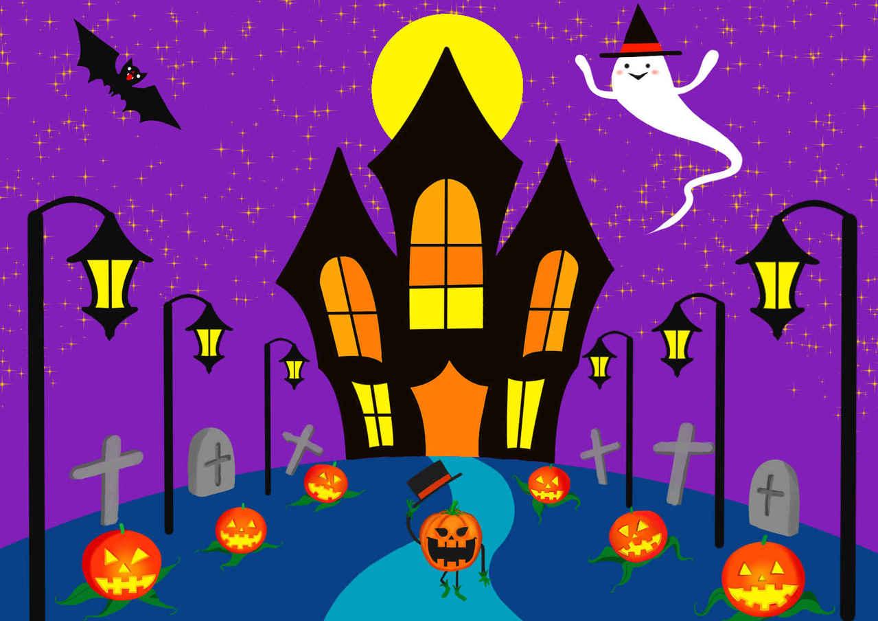 ハロウィーン2 Illust of beach st Halloween 街頭 お化け シルクハット コウモリ かぼちゃ purple お城 満月 お墓