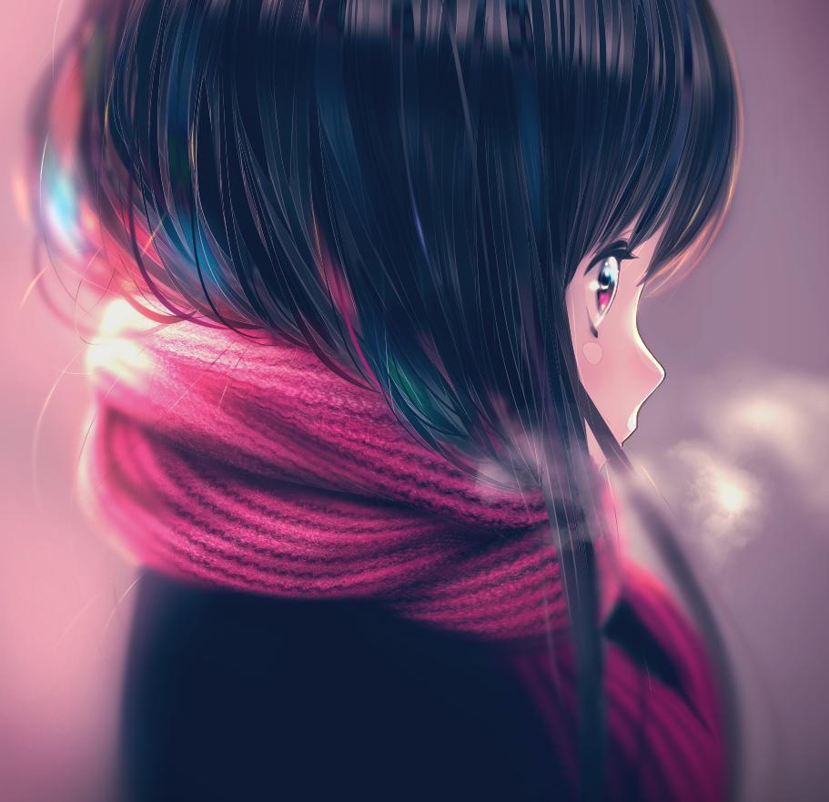 赤 Illust of Tow Tateoka red girl winter マフラー