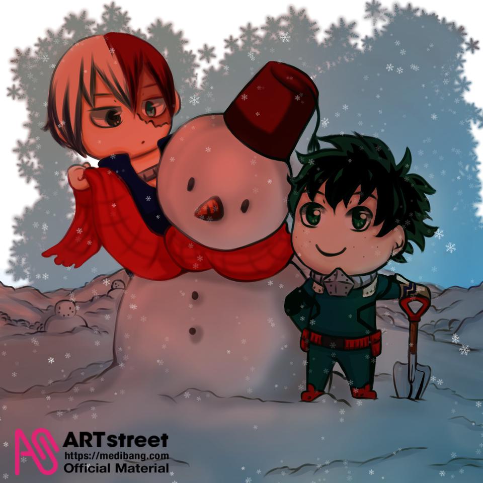 Todoroki y Deku Illust of Karenhc snow anime dekufanart quirk Izuku medibangpaint bokunoheroacademy todorokishotofanart todoroki