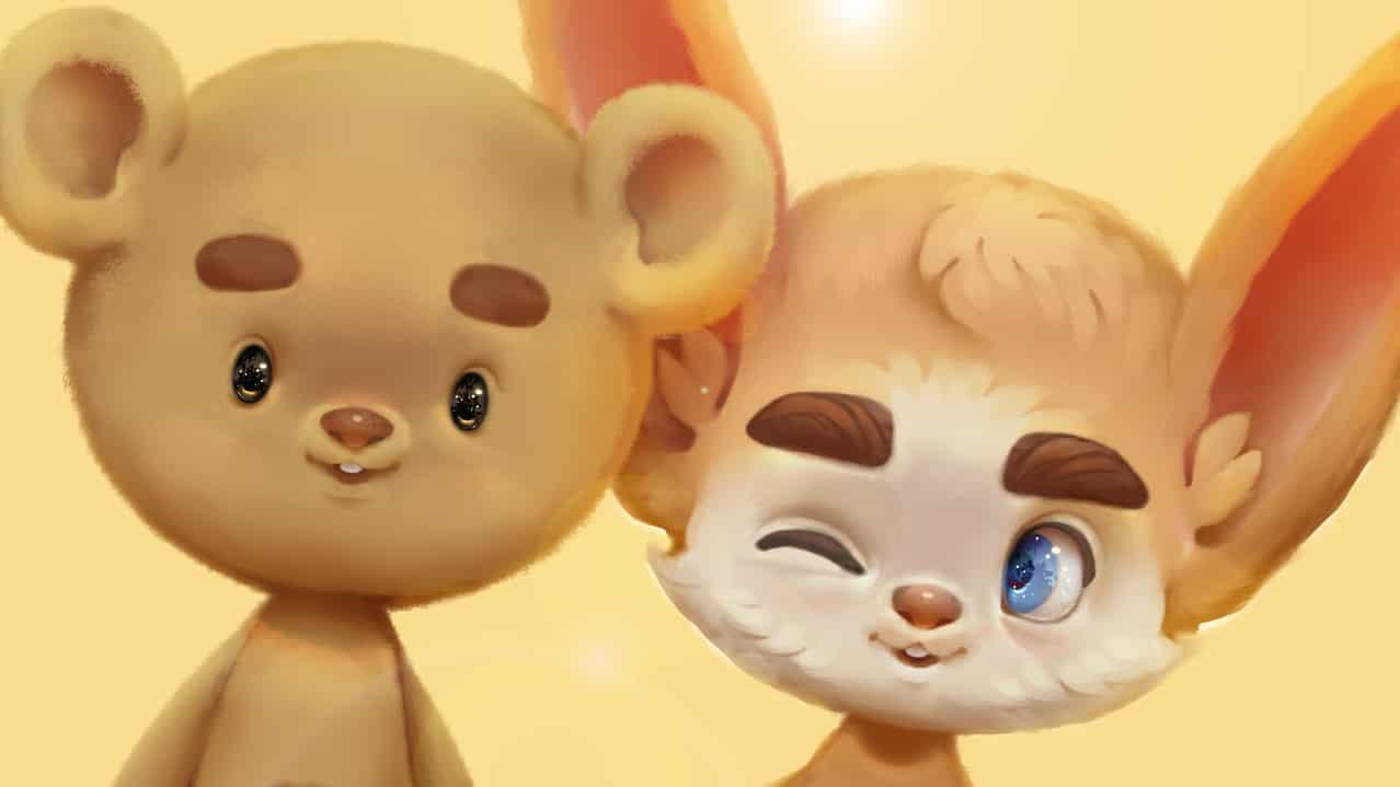 Soft creatures Illust of JoAsLiN eyes digital YouTube illustration fox bear cute Video animation furry