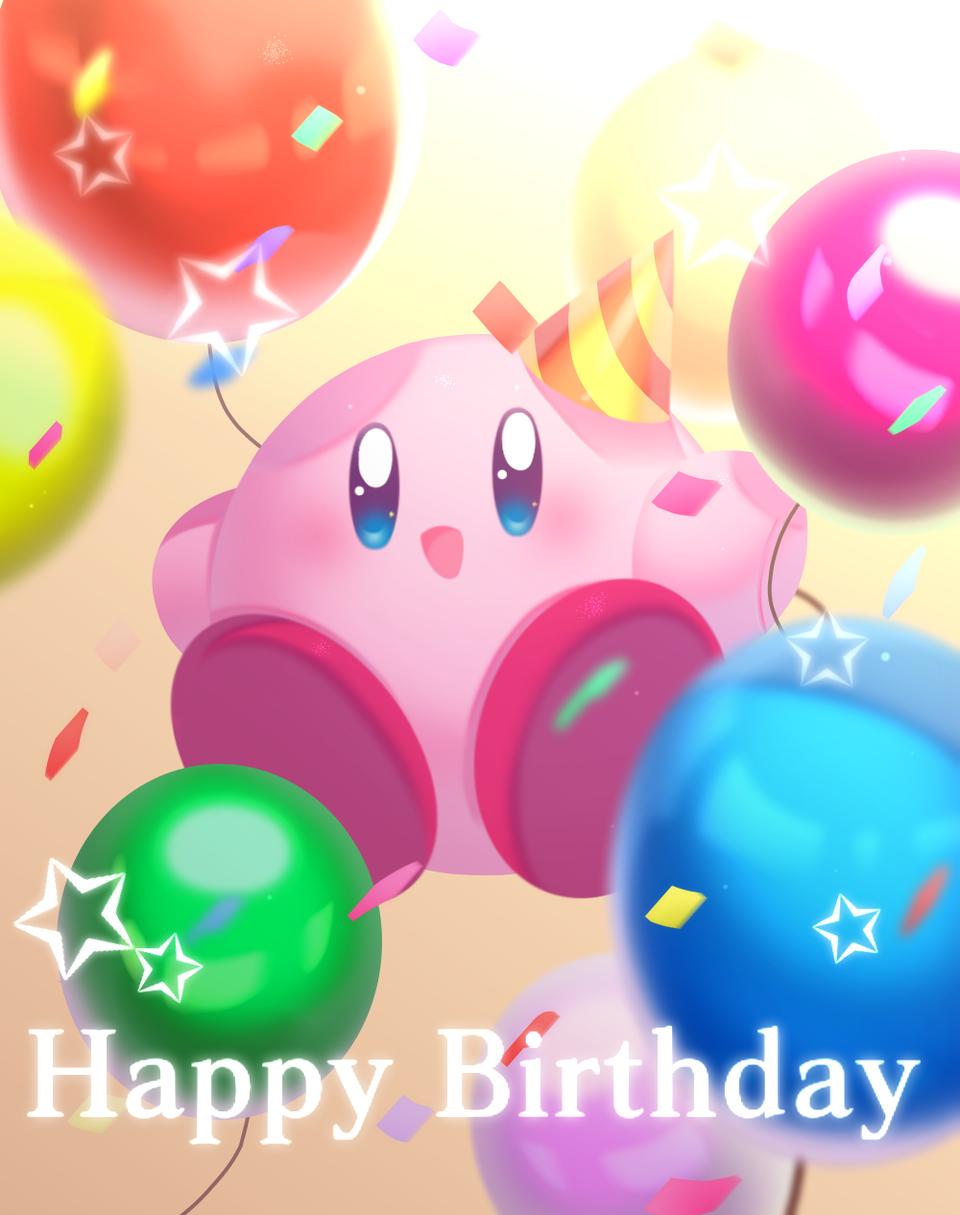 お誕生日おめでとう〜🎉🎊🎈🎈💓 Illust of ちょも medibangpaint Kirby 星のカービィ27周年 Kirby'sDreamLand
