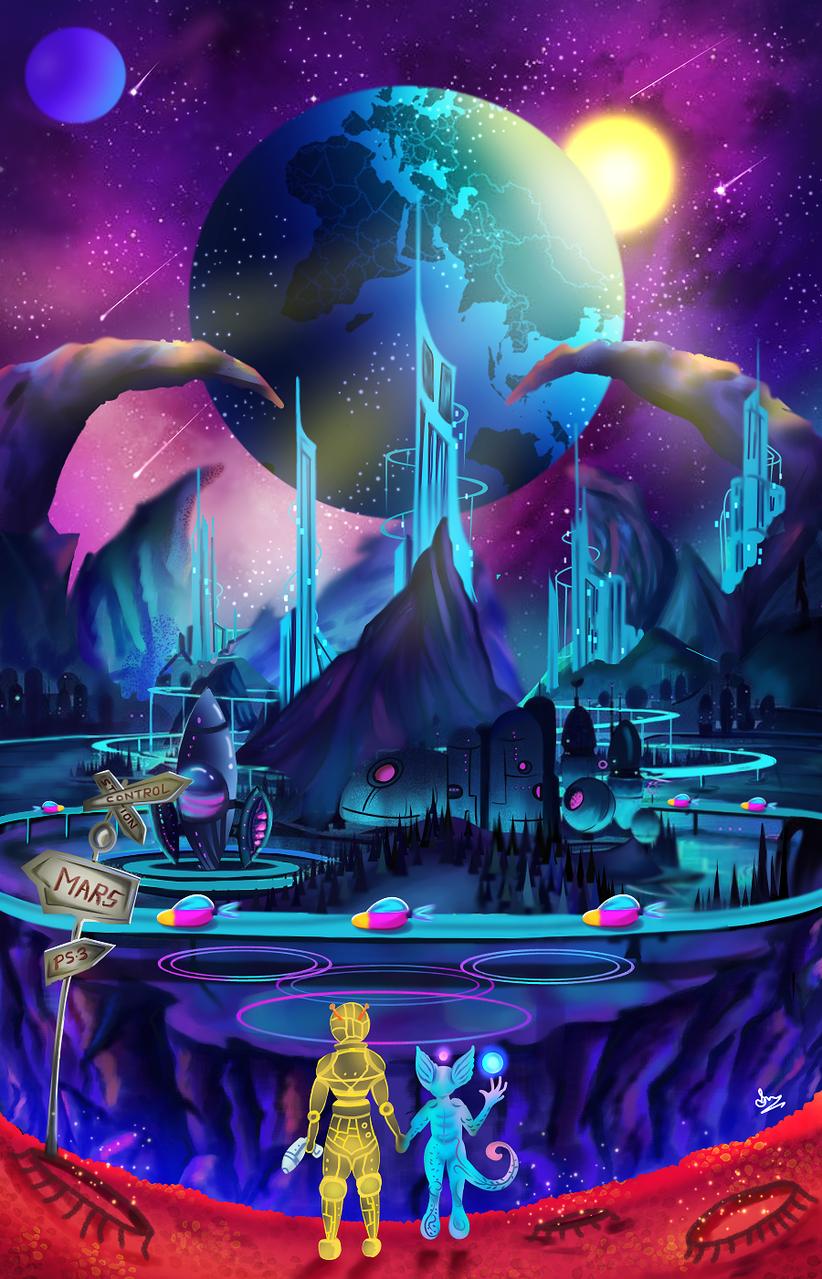 Our future Illust of Cheesywhiskers sci-fi November2020_Contest:Cyberpunk alien medibangpaint cyberpunk furry Fingerpaint