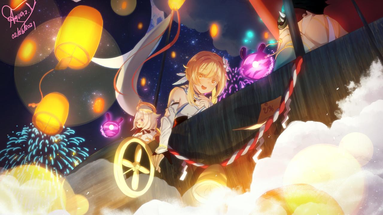 lantern festival Illust of Aquaz.N FightingGame game girl GenshinImpact traveler fanart Xiao paimon