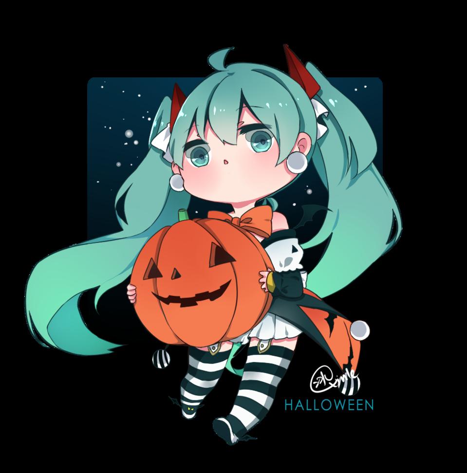 Halloween Illust of QinLe hatsunemiku