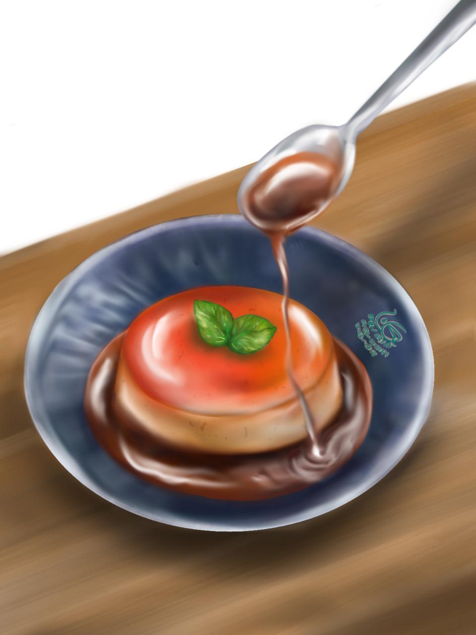 焦糖紅茶布丁( Black tea Crème caramel ?) Illust of L.G food caramel illustration プリン 甜點 美味しい original delicious pudding デザート