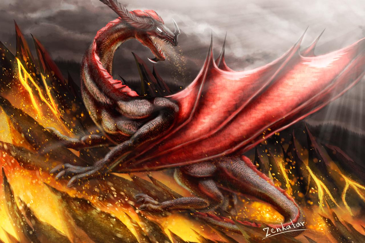 Volcano Illust of ℤ𝕖𝕟𝕜𝕒𝕥𝕒𝕣 medibangpaint oc dragon lava epic fire dragonart volcano realistic