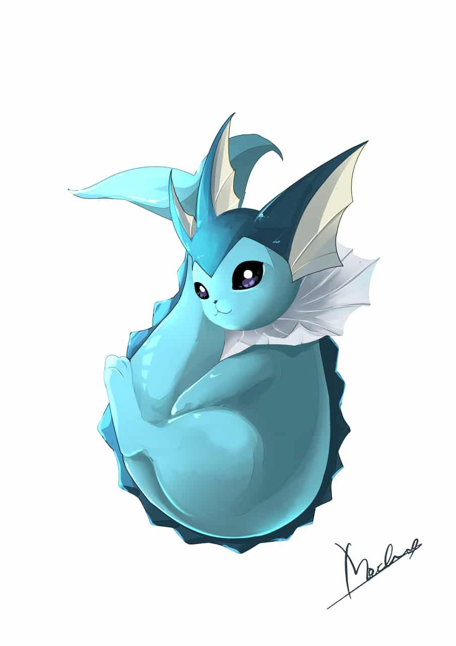 シャワーズ Illust of Mochicyann digital painting pokemon drawing Vaporeon