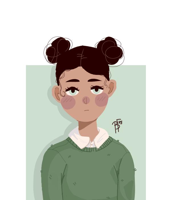 Illust of Vassilia medibangpaint green girl blackgirl spacebuns