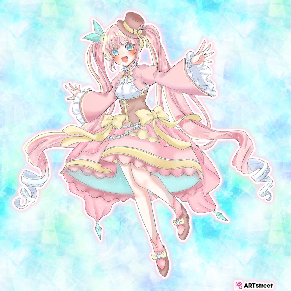 ぬりえコンテスト! Illust of ナチュネコ#お味噌汁崇拝 ColoringContest pink twin_ponytails ぬりえ digital girl kawaii