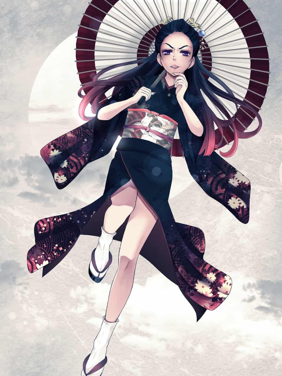 見上げて Illust of Natsume Kyoto_Award2020_illustration original kimono umbrella night moon KimetsunoYaiba monster