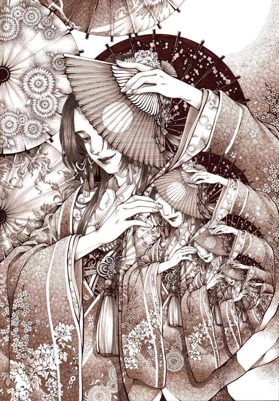 藏 Illust of ClassmateLin Kyoto_Award2020_illustration 代針筆 kimono 和服少女 illustration
