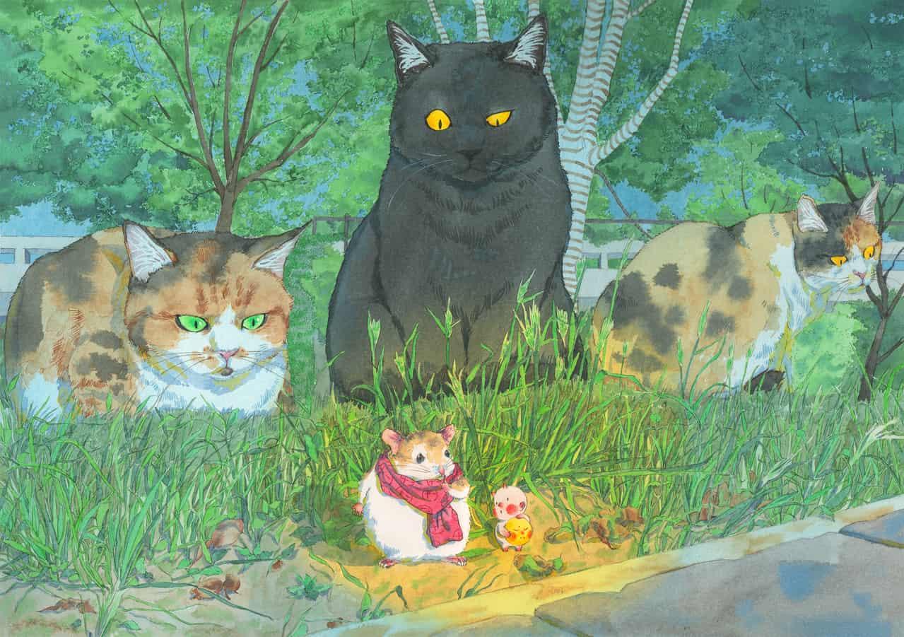 躲猫猫 Illust of weiyiren watercolor cat Hamster kawaii 黒猫 三毛猫 handdrawn