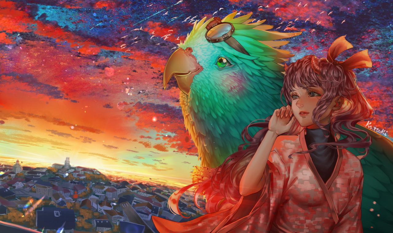 Sunset Illust of Ko.tsuki fantasy anime animeart animestyle animegirl digital birds scenery sunset digitaldrawing