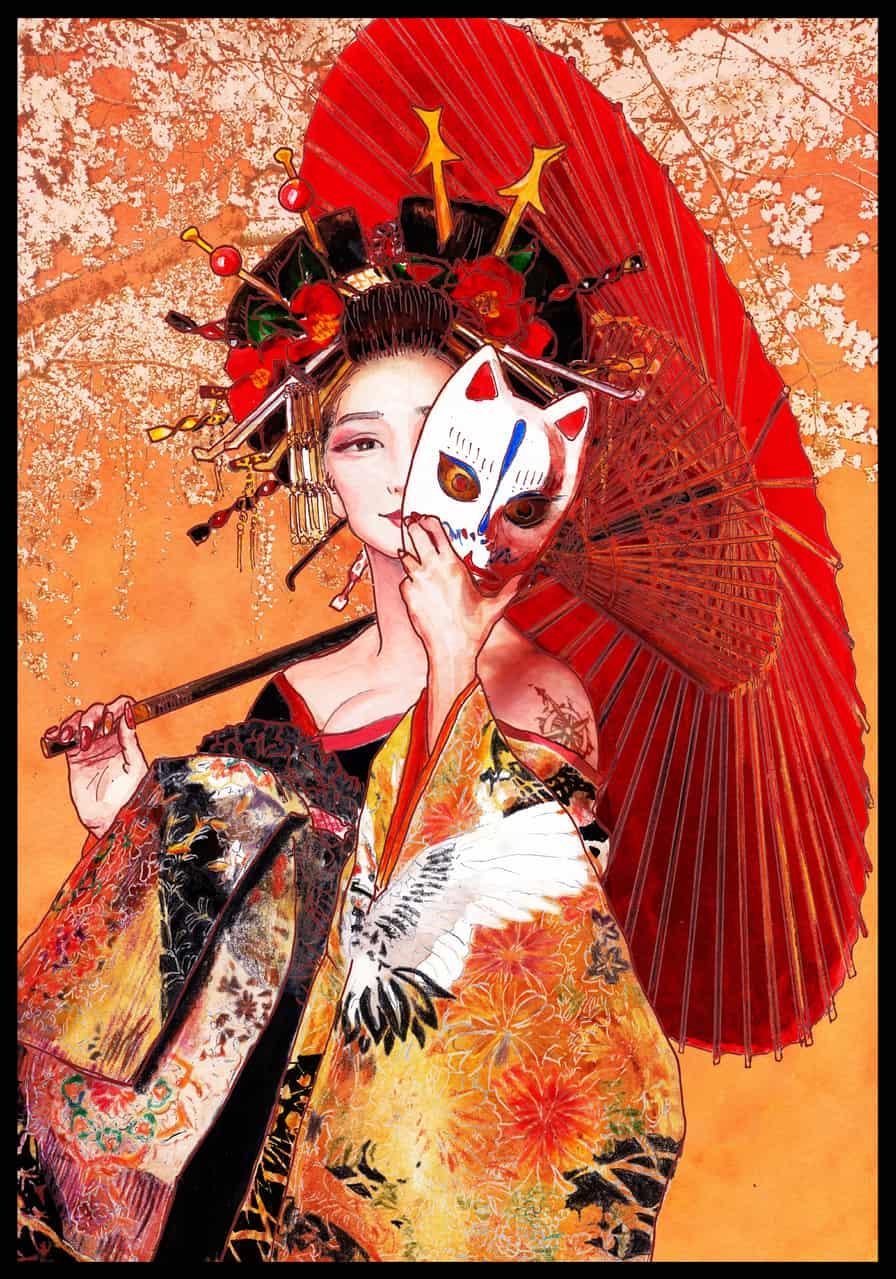 深雪太夫 Illust of 九湖 kyoto-illust2019 sakura Japanese_style お面 花魁 kimono 太夫 美人画 mask