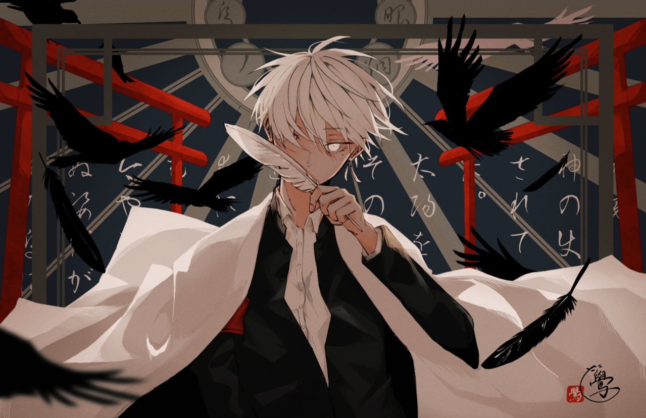 烏ノ炯眼 Illust of 鷽 boy Japanese_style 烏 original