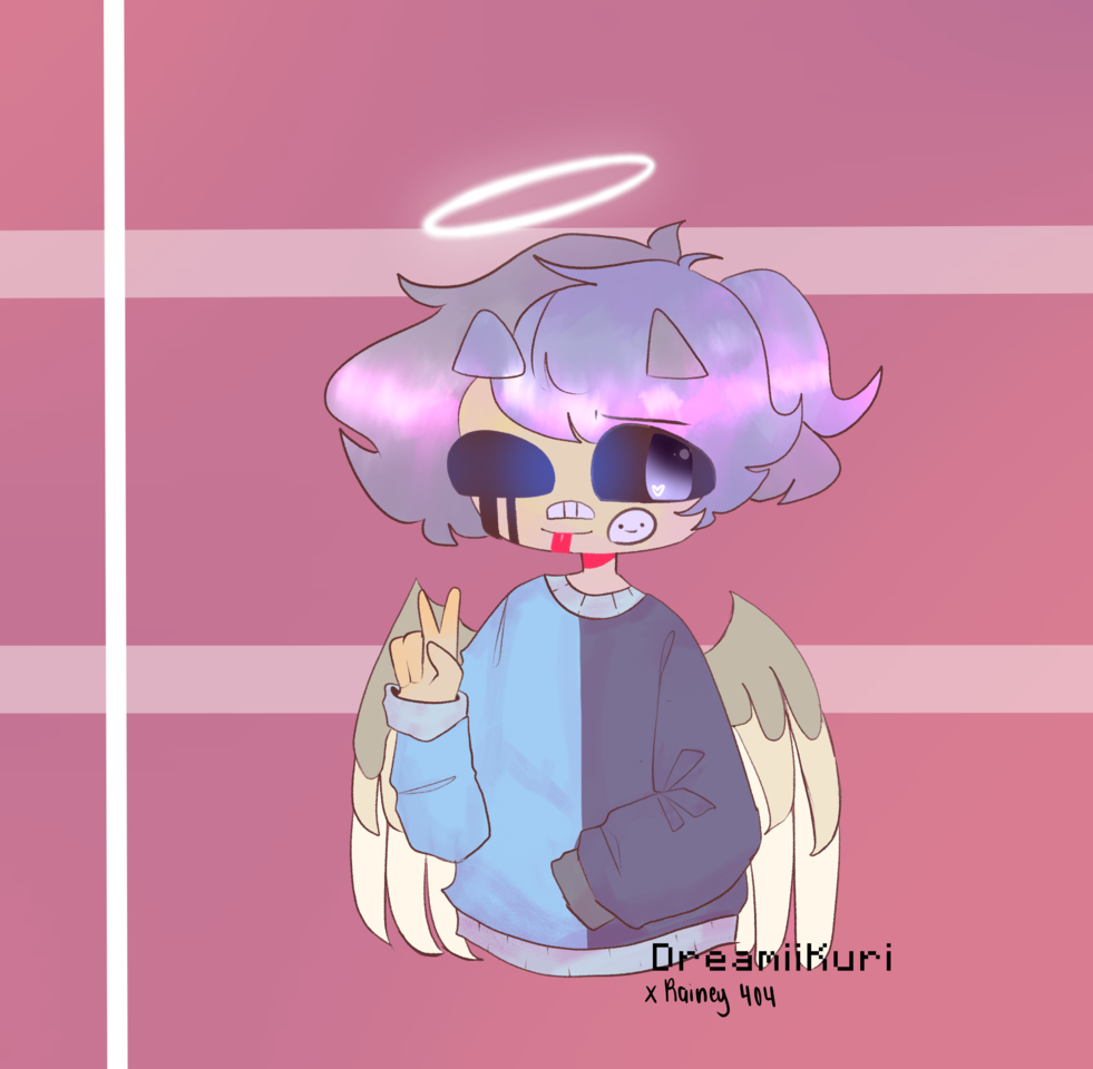 Colored Linearts + doodles Illust of DreamiiKuri | Drèam mode©️ oc drawing technoblade mcyt lineless pink georgenotfound collab