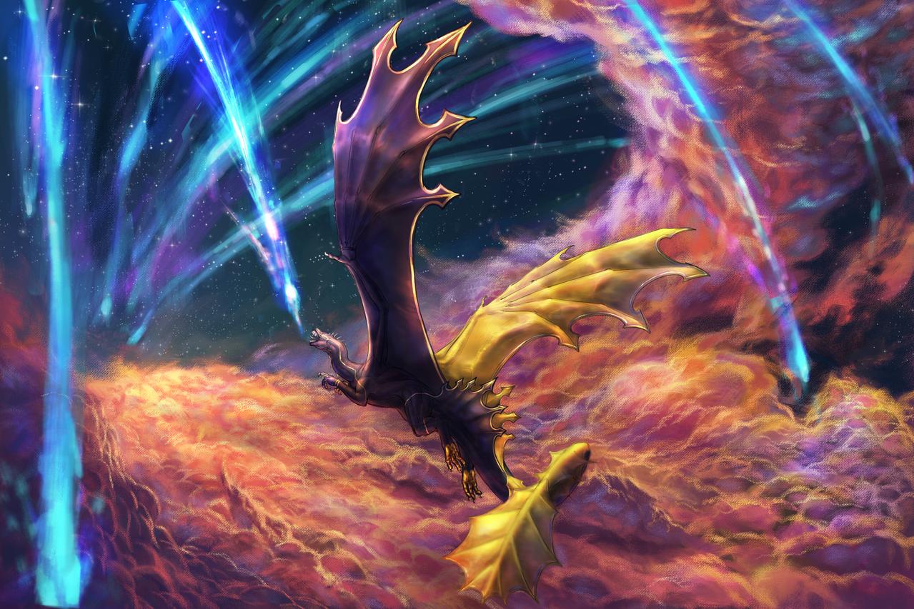 If I Could Eat A Shooting Star Illust of Revontulis February2021_Fantasy illustration fantasyart painting creature clouds dragon animal sunset dragons digital