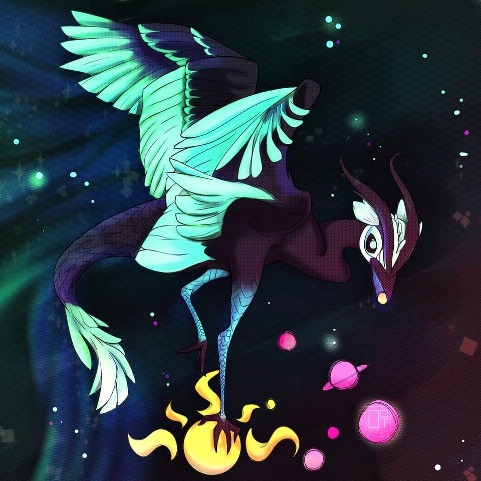 Minokawa Creature  Illust of drawonethree March2021_Creature galaxy birds Planets Creature star wings Win Mythical Legend