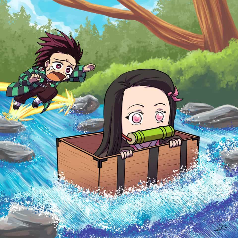 Floating Nezuko Illust of okuto DemonSlayerFanartContest KamadoNezuko medibangpaint iPad_raffle nezukochibi KimetsunoYaiba