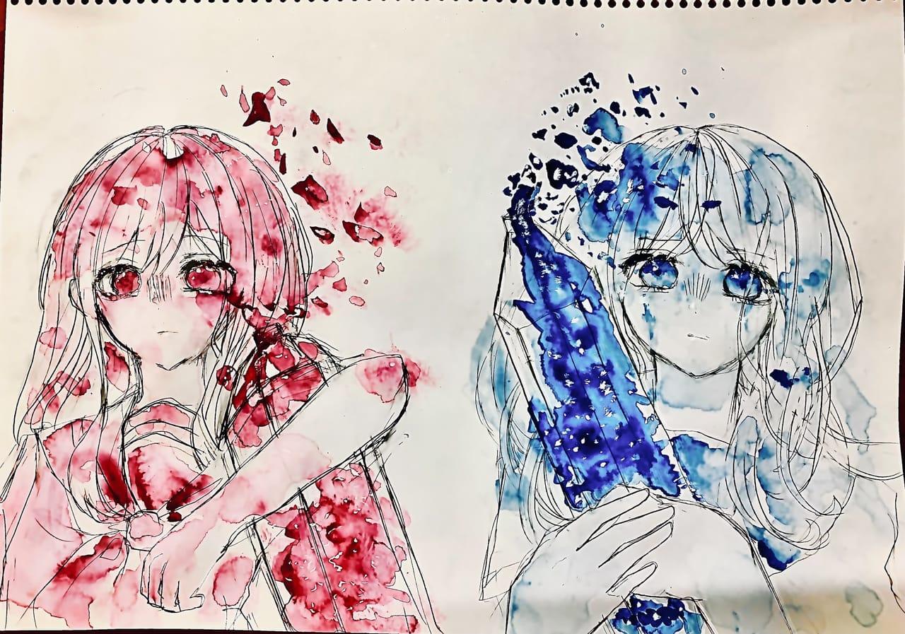紅と蒼 Illust of フラミパン blue girl 過去絵 oc watercolor アナログ 2人 red doodle