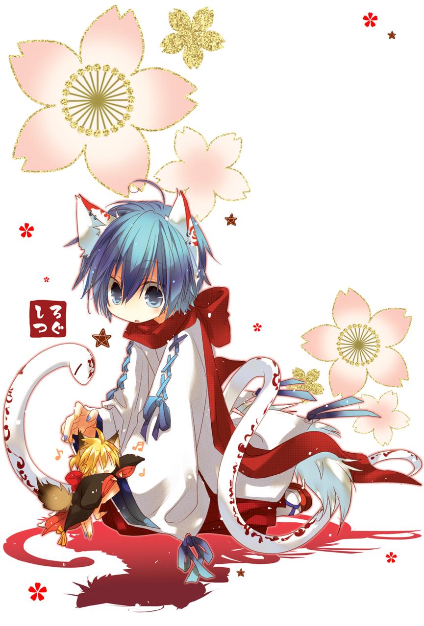Illust of 白継 KAITO kimono KagamineLen illustration VOCALOID snake 狐耳