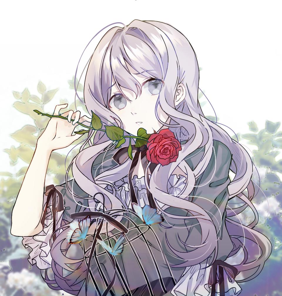 Illust of kujoTsukimi medibangpaint girl 鳥かご dress rose flower