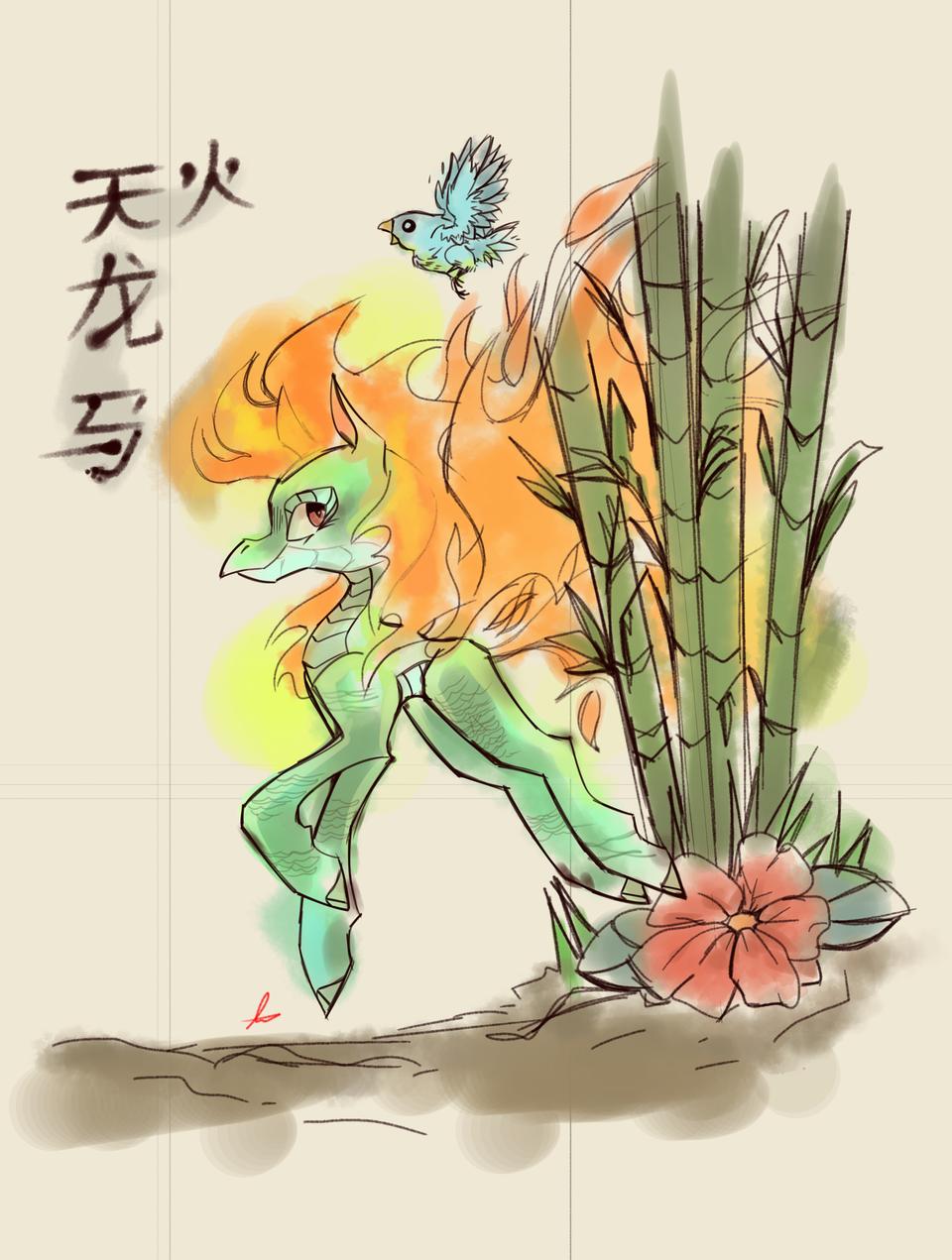 Lukisan gaya Tionghoa :v Illust of Squiggle Liggle medibangpaint dragon chinese art