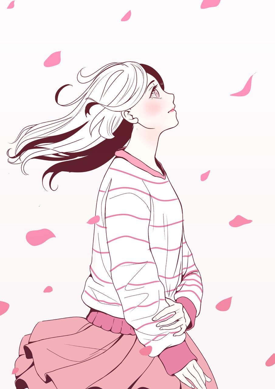 pink world Illust of Ketlley Original_Illustration_Contest April.2020Contest:Color ARTstreet_Ranking smile 春 girl wind pink sakura spring kawaii cute