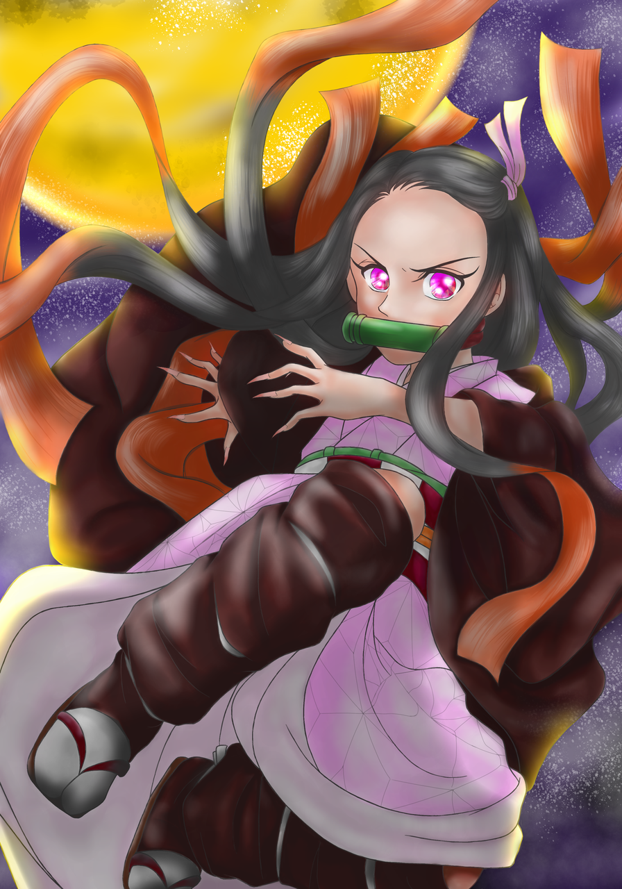 鬼滅の刃 禰豆子(初w) Illust of りん🌸いつも眠いw KimetsunoYaiba moon KamadoNezuko おんなのこ Lindo!