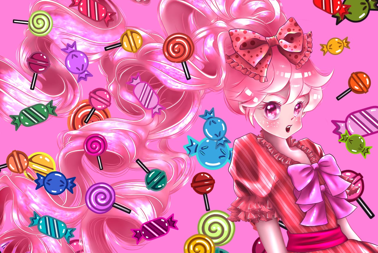 Candy Girl Illust of Janet Chang ART_street_Illustration_Book_Contest original MedibangPaintart girl 電繪 Artwork MediBangPaintPro illustration pixie illustrations kawaii