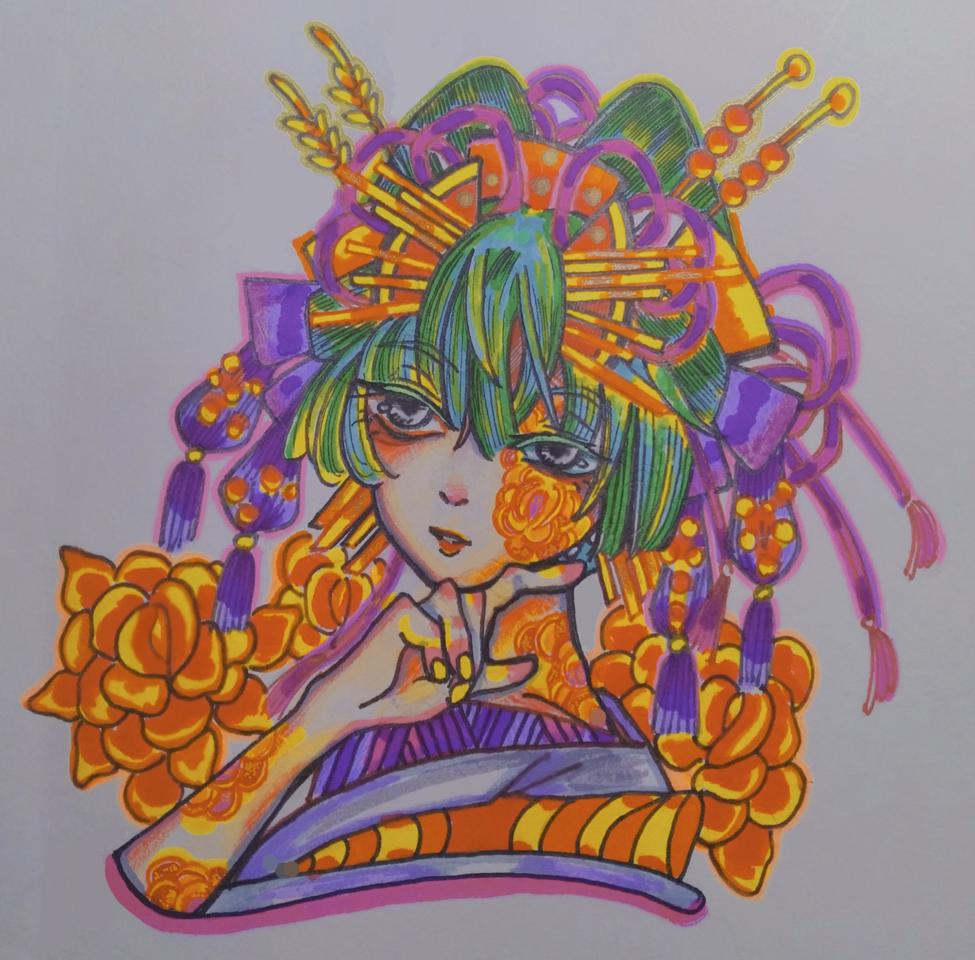 花旦 Illust of 手繪人 April2021_Flower Japanese_style 女孩#插畫#flower#花 woman