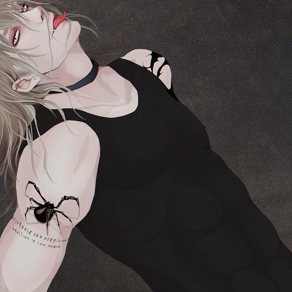 スパイダー Illust of TERRA oc fang female 首輪 刺青 ロングヘア blonde トライバル piercing spider