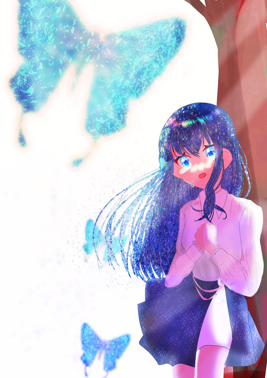 儚い Illust of まひ 光 まひ 影 oc 水色 blue girl 逆光 butterfly ロング