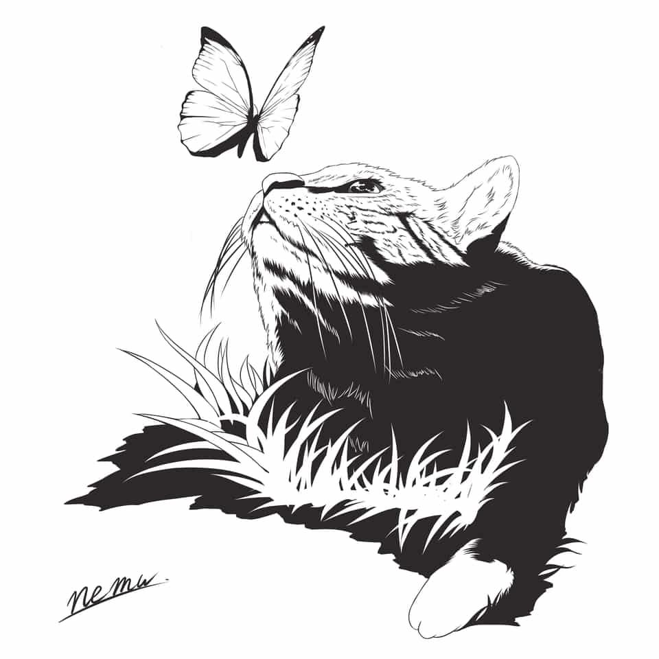 アイコン Illust of nemu icon cat blackandwhite butterfly アイコン用