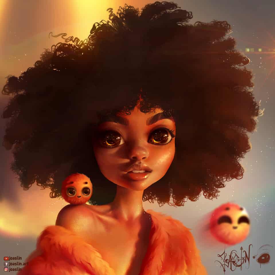 Warm Sunset 🌅 😌 Illust of JoAsLiN ARTstreet_Ranking illustration curly painting curlyhair furry cute girl hair eyes manga