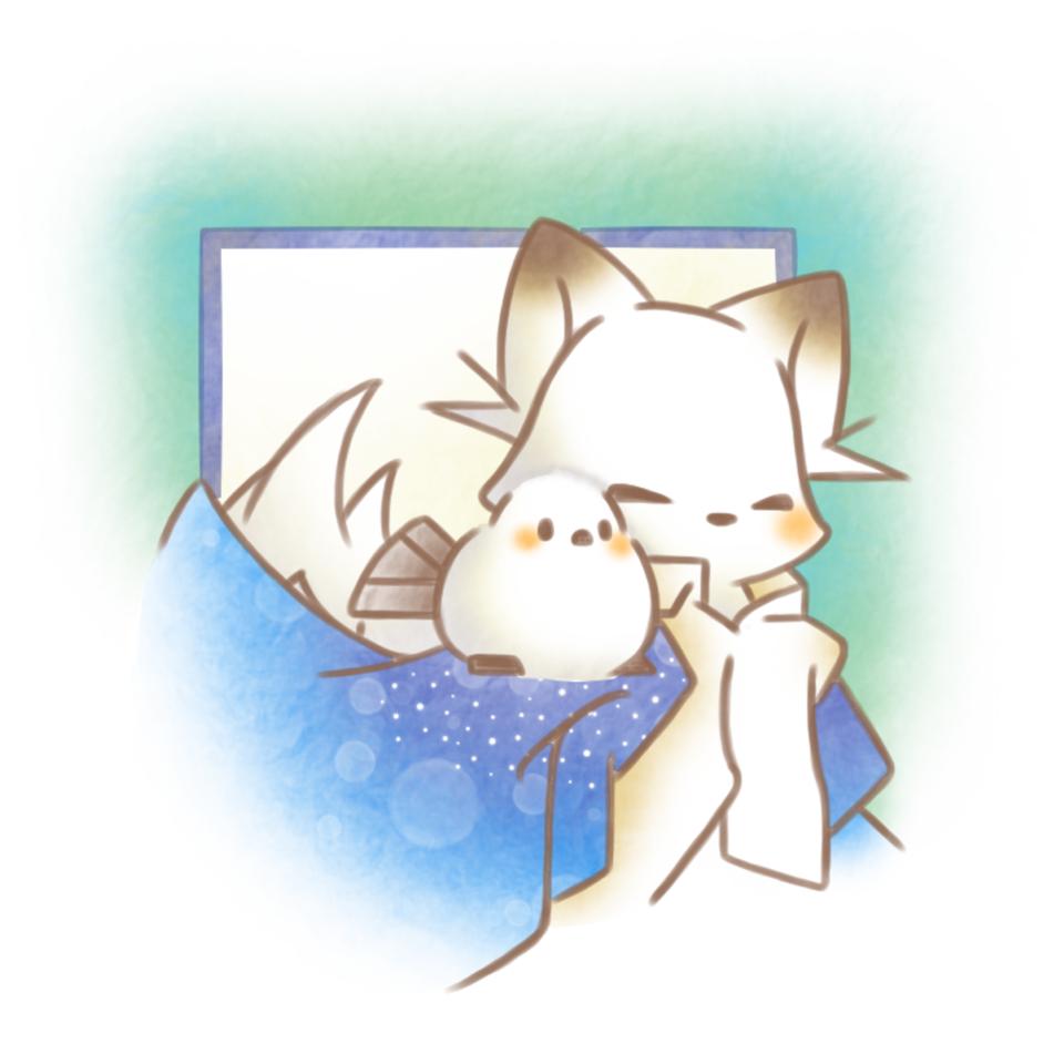 シマきつね。 Illust of 兎卯子 小鳥 original 小動物 fox digital シマエナガ