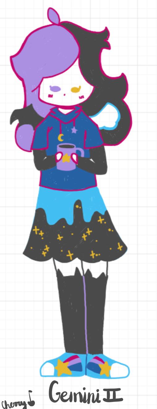 Wbf Gemini doodle (pls comment below for ideas) Illust of Cherry 🍒 (skid mode) oc doodle Gemini medibangpaint wbf