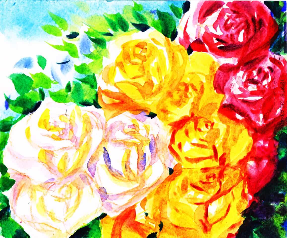 咲け咲け薔薇よ、な枯れそ。Bloomin' Boomin' Roses, Never Wither! Illust of おち☆よしかず(Occhiiy:オッチー☆) April.2020Contest:Color ARTstreet_Ranking flower カラー 植物 透明水彩 アナログの本気