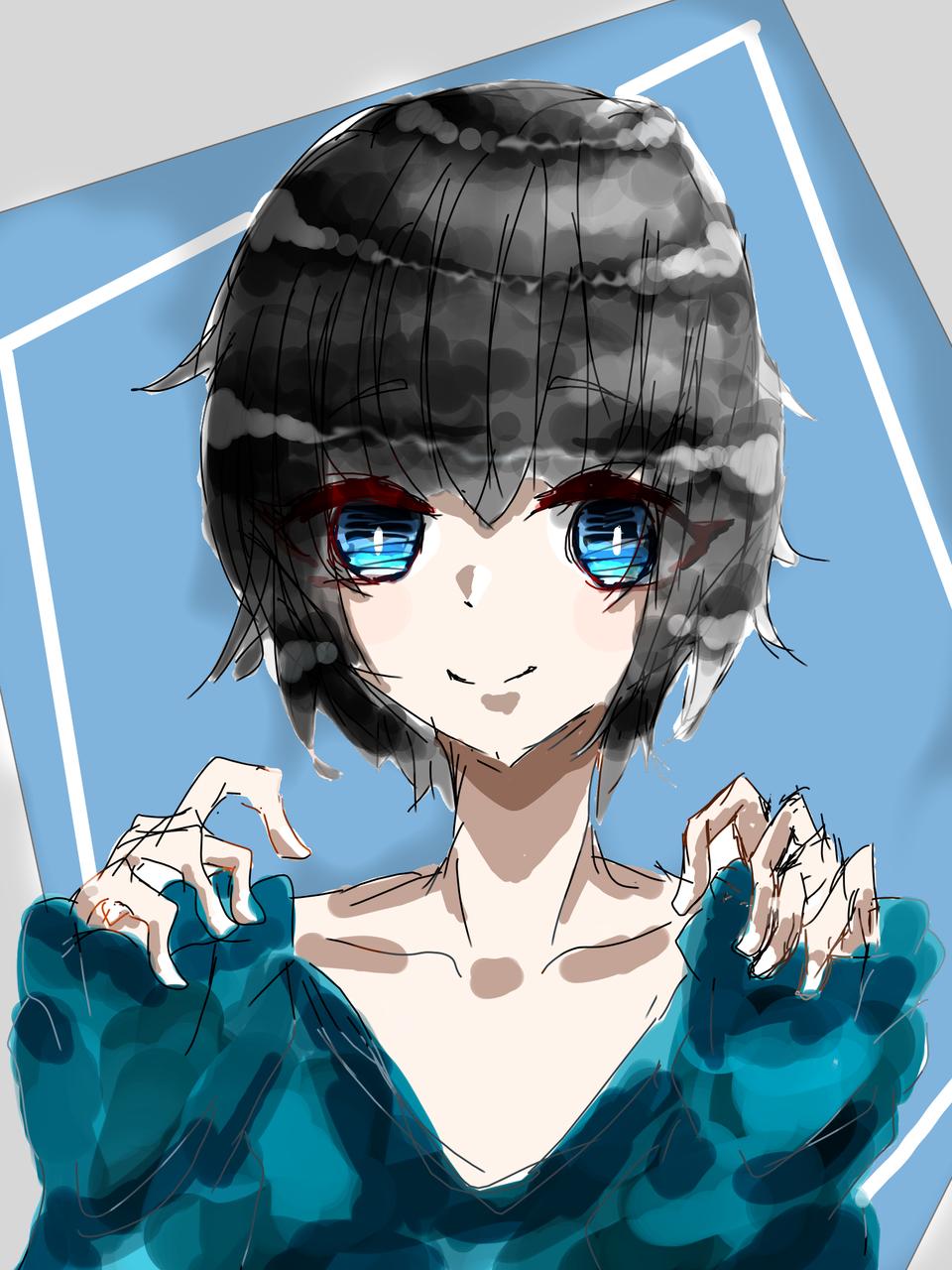 ブルー Illust of 如月来蕾 medibangpaint 黒髪 長T boy ブルー oc